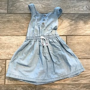 Girls Chambray Jean Dress with cross cross back